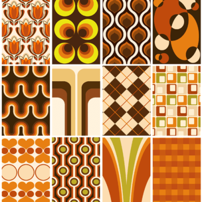 retro 70s living room wallpaper pattern samples orange brown avocado green