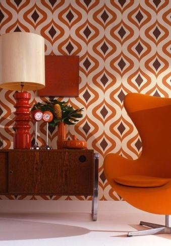 retro g plan living room orange-pattern-wallpaper