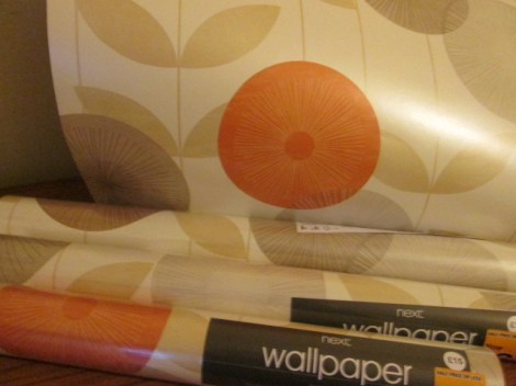 retro monroe orange vintage floral leaf pattern wallpaper from next
