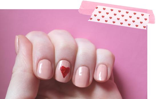 red love heart nails for valentines day nail art polish