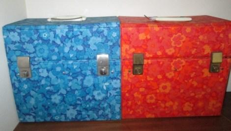 Vintage retro record case lp box blue orange storage