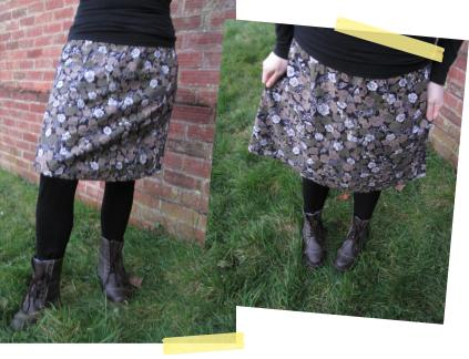 simplicity skirt pattern using charity shop dress fabric sewing construction finished clothing