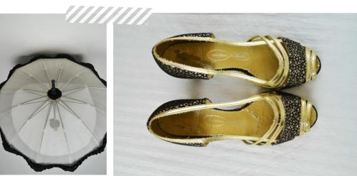 Summer 2013 vintage accessories parasol and gold black shoes from Mela Mela
