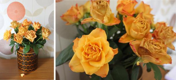 vintage living room design retro orange roses