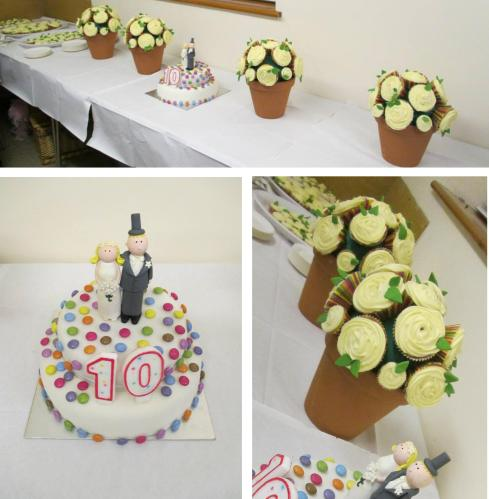 cassiefairy anniversary party rainbow wedding cake decorating roses cupcakes in terracotta pots