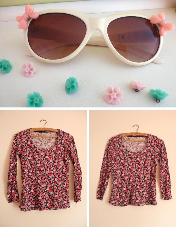 cassiefairy DIY fashion cabochon resin bows sunglasses and tshirt