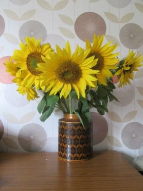 cassiefairys retro living room - autumn sunflower heads in hornsea vase