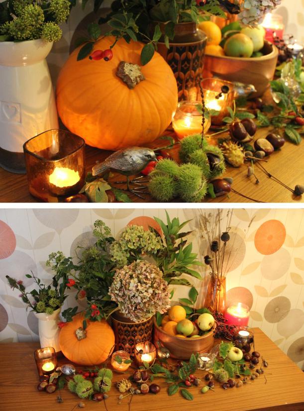 harvest floral arrangment table display orange pumpkin retro living room