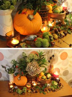 harvest floral arrangment table display orange pumpkin retro living room