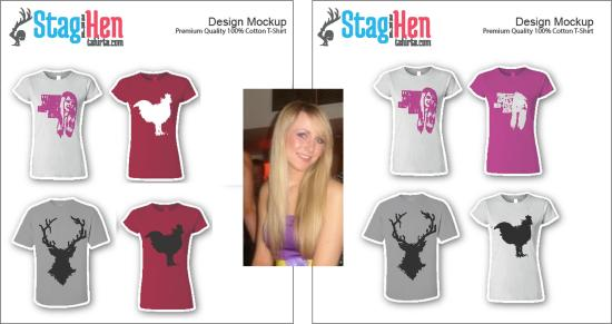 stagandhentshirts customised retro cool pink design for hen party