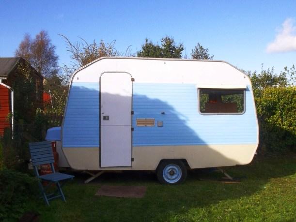 Vintage Retro Sprite Caravan workshop office studio painted blue