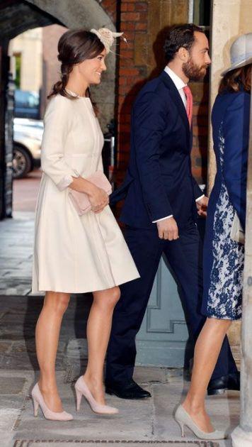 pippa middleton price george christening wearing blush pink accessories