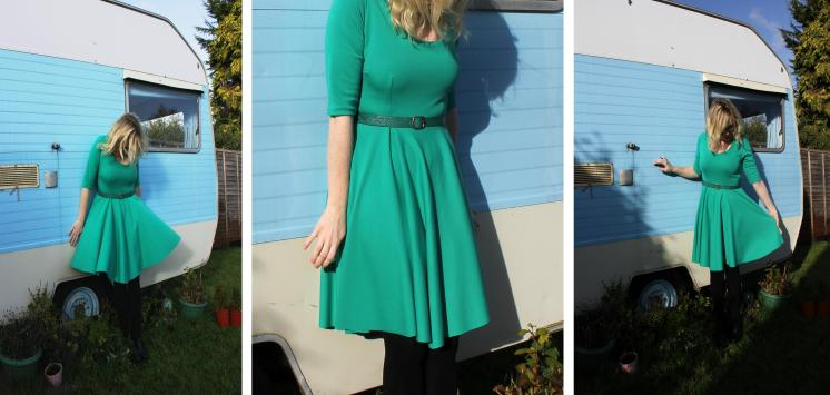 Sew It Yourself SIY emerald green dress handmade using vogue pattern and fabric from Minerva