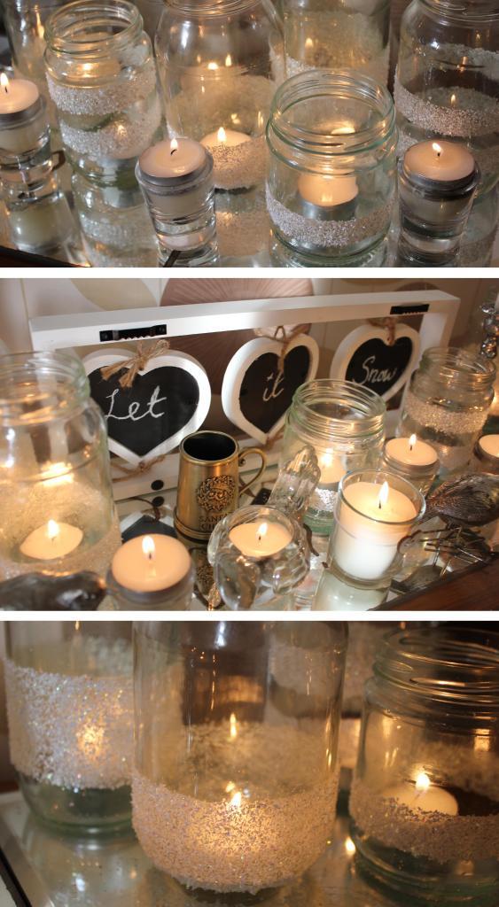 DIY glitter tea light holder jam jar christmas project