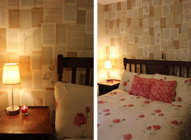 DIY bedroom makeover with old book pages and roses
