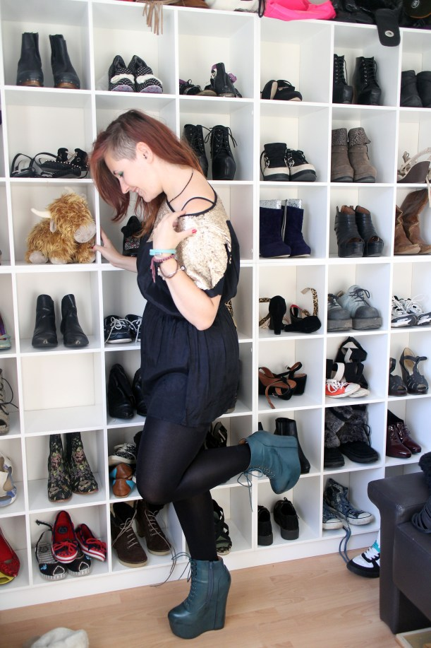 feeling stylish shoe wall and Jeffrey Campbell green wedges