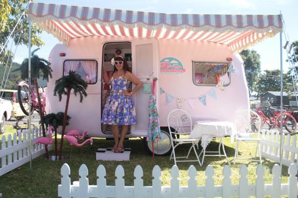 lisa mora pink vintage caravan magazine blog hop