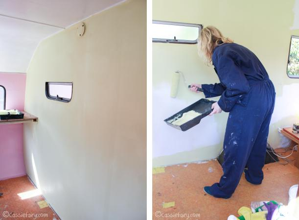 Vintage caravan makeover interior painting project on Cassiefairy blog