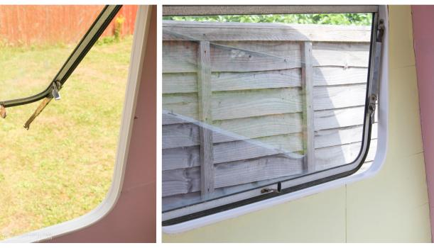 Vintage caravan makeover project on Cassiefairy blog - new window trims