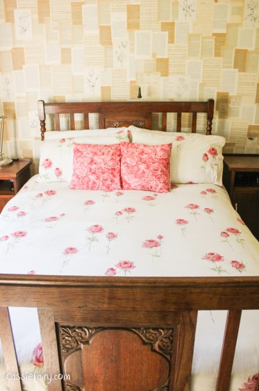 bedroom makeover rose bedding and rose walls-1