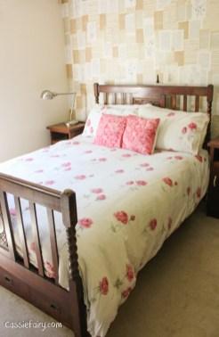 bedroom makeover rose bedding and rose walls-3