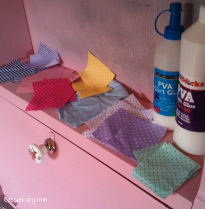 DIY decoupage patchwork fabric to renovate an old desk-1