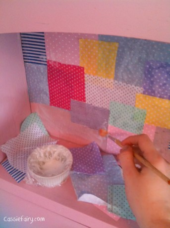 DIY decoupage patchwork fabric to renovate an old desk-2