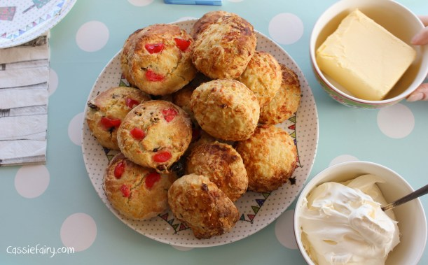 Easy recipe for baking cheese, fruit and cherry scones