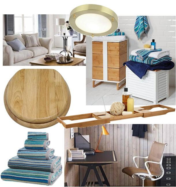 trend moodboard for a beach hut inspired coastal bathroom