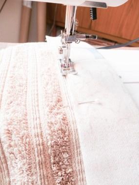 DIY sewing bias binding project for bathroom towels-7