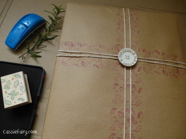 DIY homemade vintage christmas gift wrapping techniques_-9