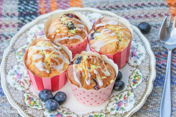 recipe for lemon and blueberry muffin cakes for afternoon tea on Valentines Day Mother's Day or birthday-10