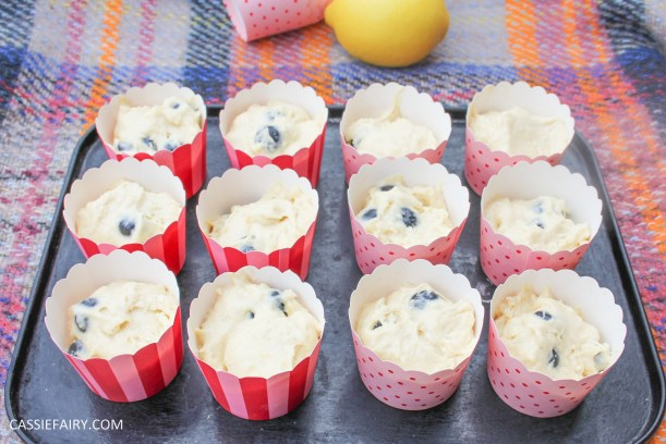 recipe for lemon and blueberry muffin cakes for afternoon tea on Valentines Day Mother's Day or birthday-6