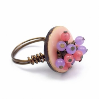 wire button ring pink