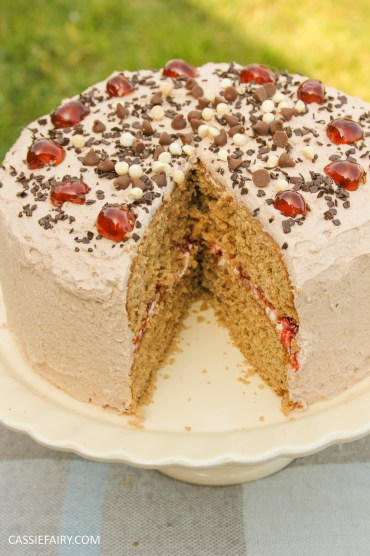easy chocolate cherry cake baking recipe-9