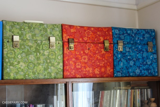 custom printed retro fabric design mid-century modern mcm 60s 70s pattern print record boxes lp cases