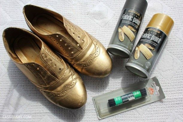 tuesday shoesday cassiefairy diy shoe makeover using fabric spray paint from rustoleum-2