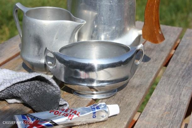 DIY polishing midcentury modern silvertea set picquot ware teapot-13
