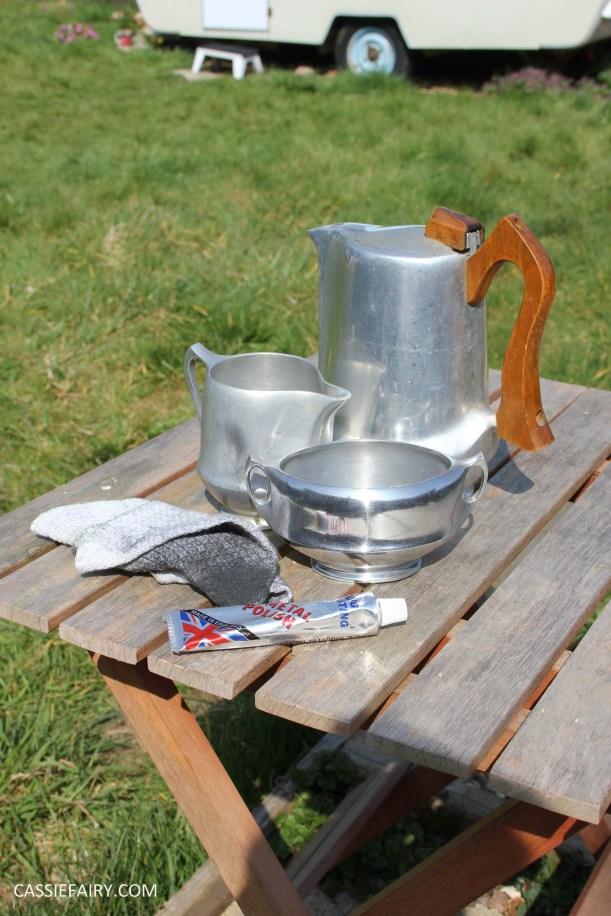 DIY polishing midcentury modern silvertea set picquot ware teapot-14