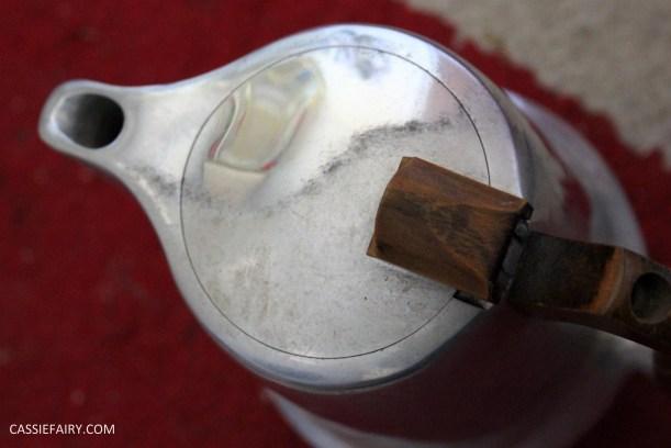 DIY polishing midcentury modern silvertea set picquot ware teapot-17