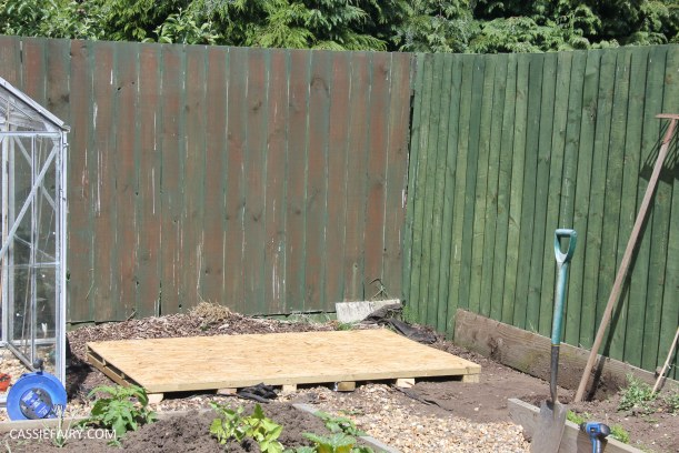 diy painting and installing small shed - duck egg blue beach hut in garden-7