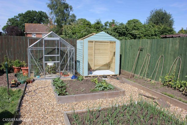 diy painting and installing small shed - duck egg blue beach hut in garden-9
