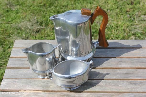 midcentury modern picquot ware teapot coffee set