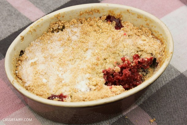 recipe blog post for baking plum and cherry crumble-3