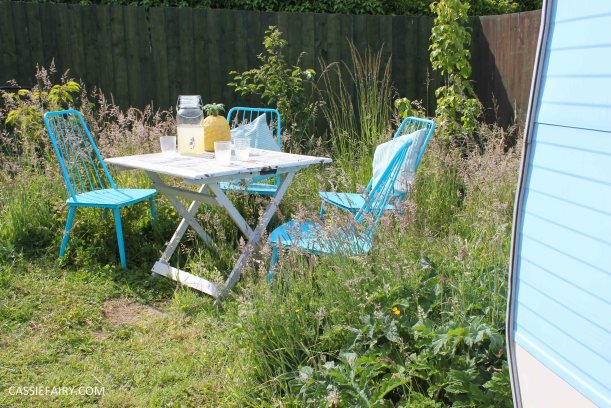 summer party - garden table and chairs in wild flower meadow-9