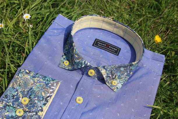 tailor store custom made shirt design blue floral_