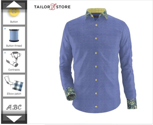 tailored shirt custom made blue