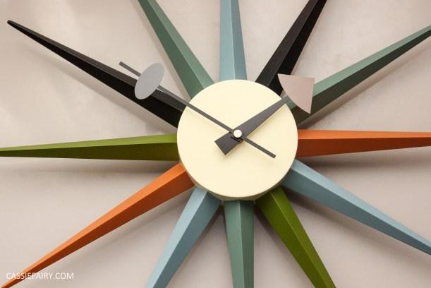 mid century modern interior design starburst clock