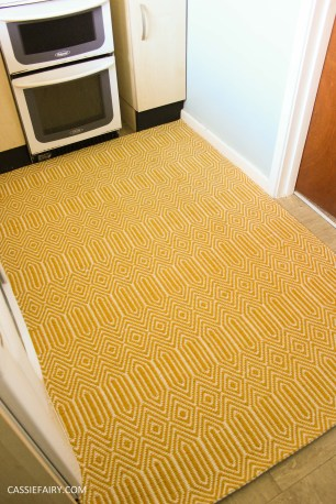 small kitchen makeover chalkboard paint yellow rug tiny room interior design blue walls-8