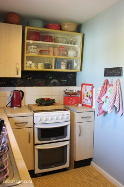 small kitchen makeover chalkboard paint yellow rug tiny room interior design blue walls